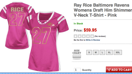Get 'em while they're hot: Buy your ladies' Ray Rice gear ...