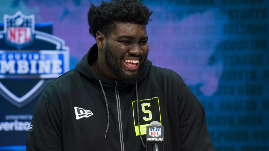 Mekhi Becton runs a 5.11 40-yard-dash