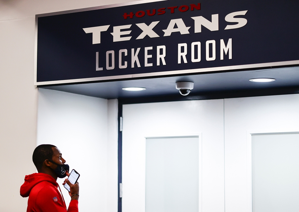 Deshaun Watson in Texans locker room