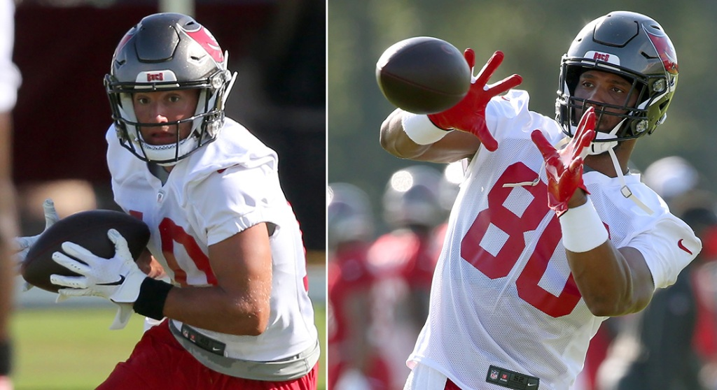 Bucs wideout Scotty Miller, left, and tight end O.J. Howard. (Getty Images