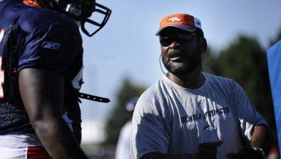 New Broncos defensive line coach Wayne Nunnely during training camp at Dove Valley. Joe Amon / The Denver Post