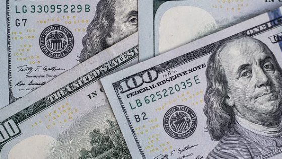 In this photo illustration American USA dollars seen