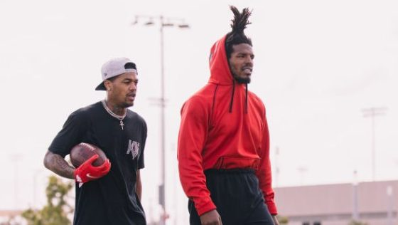 Cam Newton and Kendrick Bourne at Patriots West Off Season Work Out