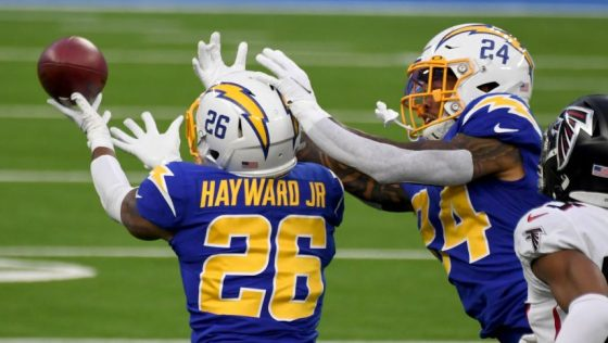 Los Angeles Chargers defeat the Atlanta Falcons 20-17 during a NFL football game.