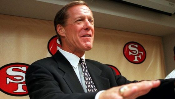 Terry Donahue was named Director of Players Personnel by the San Francisco 49ers at 49ers headquarters in Santa Clara, Calif. Thursday Jan. 21, 1999.  Donahue, former UCLA coach, joked with reporters to take it easy on him since he had only been with the