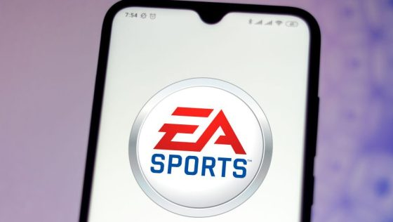 In this photo illustration the EA Sports logo seen displayed